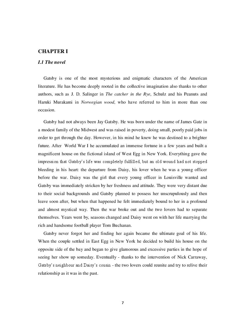 Estratto dalla tesi: Il Grande Gatsby in lingua italiana: analisi comparativa delle traduzioni in italiano e proposta di traduzione