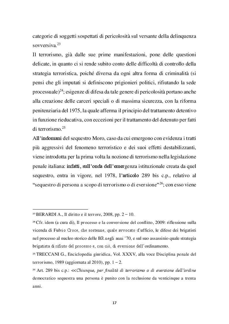 Estratto dalla tesi: I diritti fondamentali di fronte alla minaccia del terrorismo: aporie e possibili soluzioni