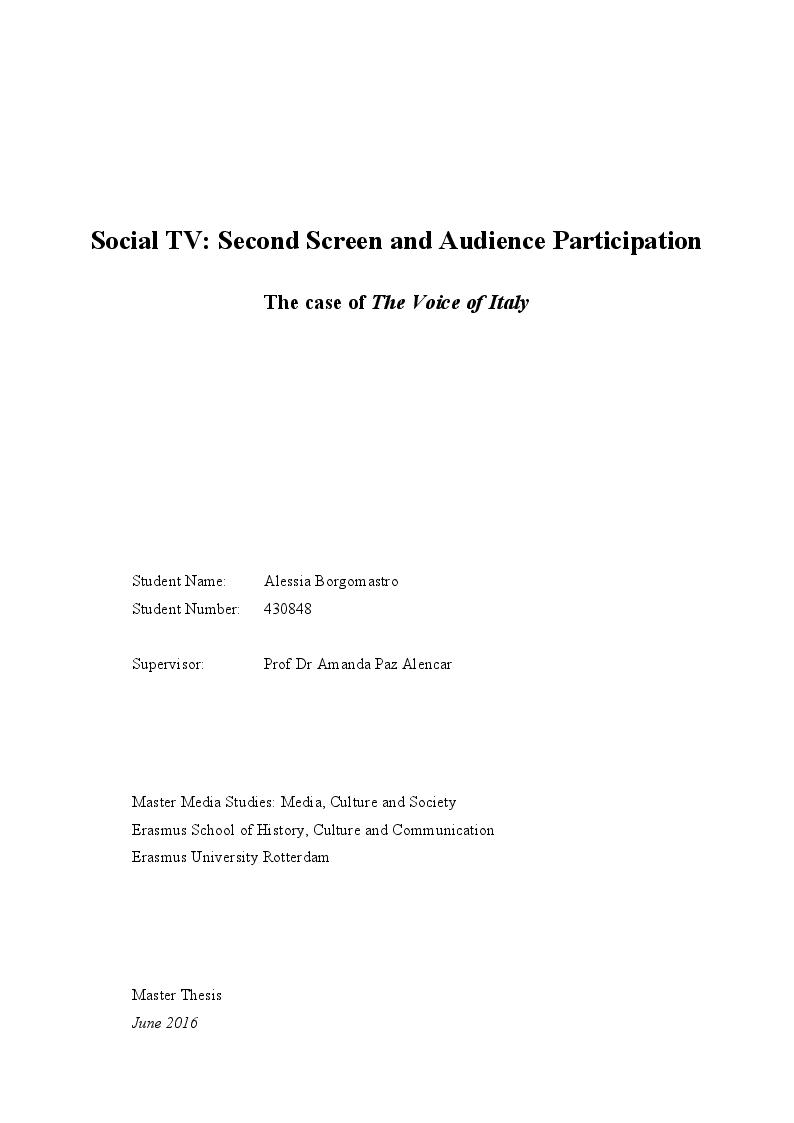 Anteprima della tesi: Social TV: Second Screen and Audience Participation, Pagina 1