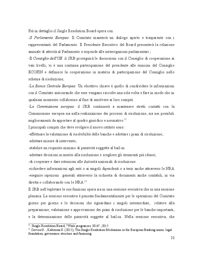 Estratto dalla tesi: L'avvio del Single Resolution Mechanism: I piani di risoluzione delle Autorità