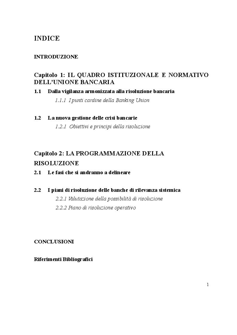 Indice della tesi: L'avvio del Single Resolution Mechanism: I piani di risoluzione delle Autorità, Pagina 1