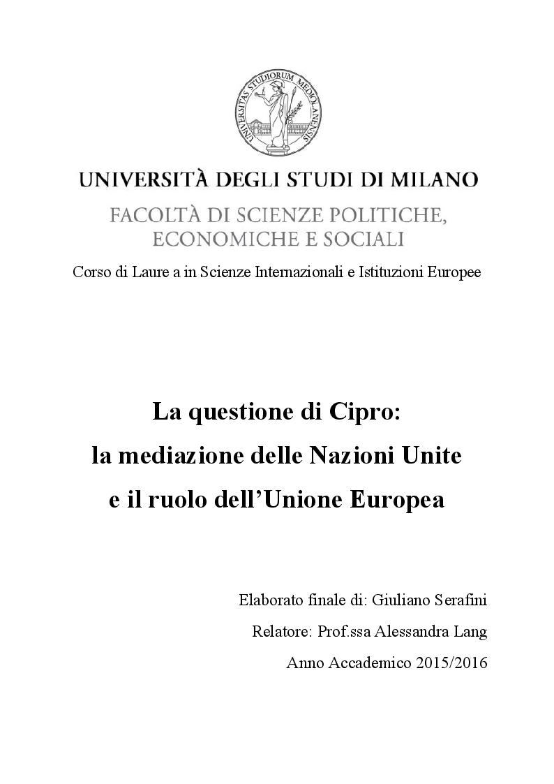 Anteprima della tesi: La questione di Cipro: la mediazione delle Nazioni Unite e il ruolo dell'Unione Europea, Pagina 1
