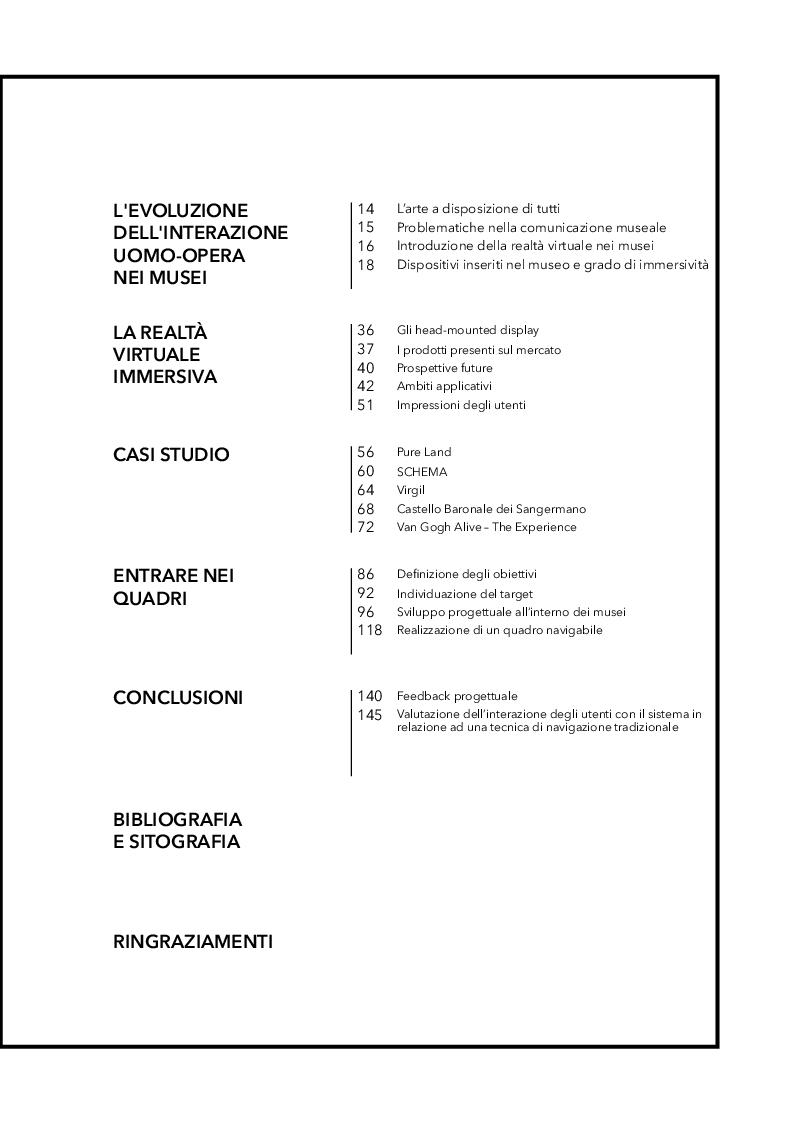 Indice della tesi: L'immersività nell'arte - La realtà virtuale come mezzo di comunicazione nei musei, Pagina 1