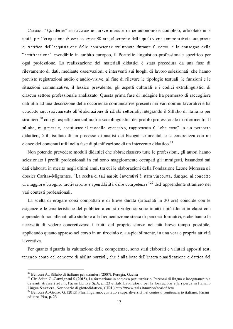 Estratto dalla tesi: IMPARARE FACENDO: Sperimentazione e analisi del corso linguistico-professionale per migranti - Aiuto cuoco e addetti ai servizi di ristorazione