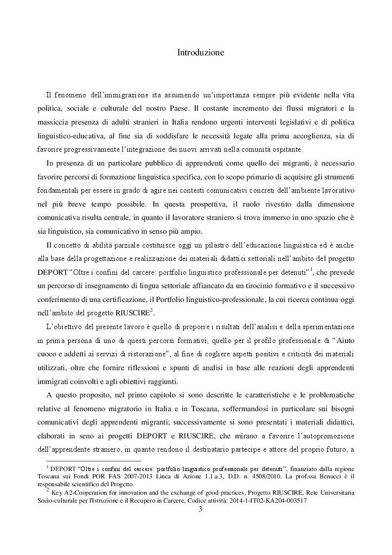 Anteprima della tesi: IMPARARE FACENDO: Sperimentazione e analisi del corso linguistico-professionale per migranti - Aiuto cuoco e addetti ai servizi di ristorazione, Pagina 2