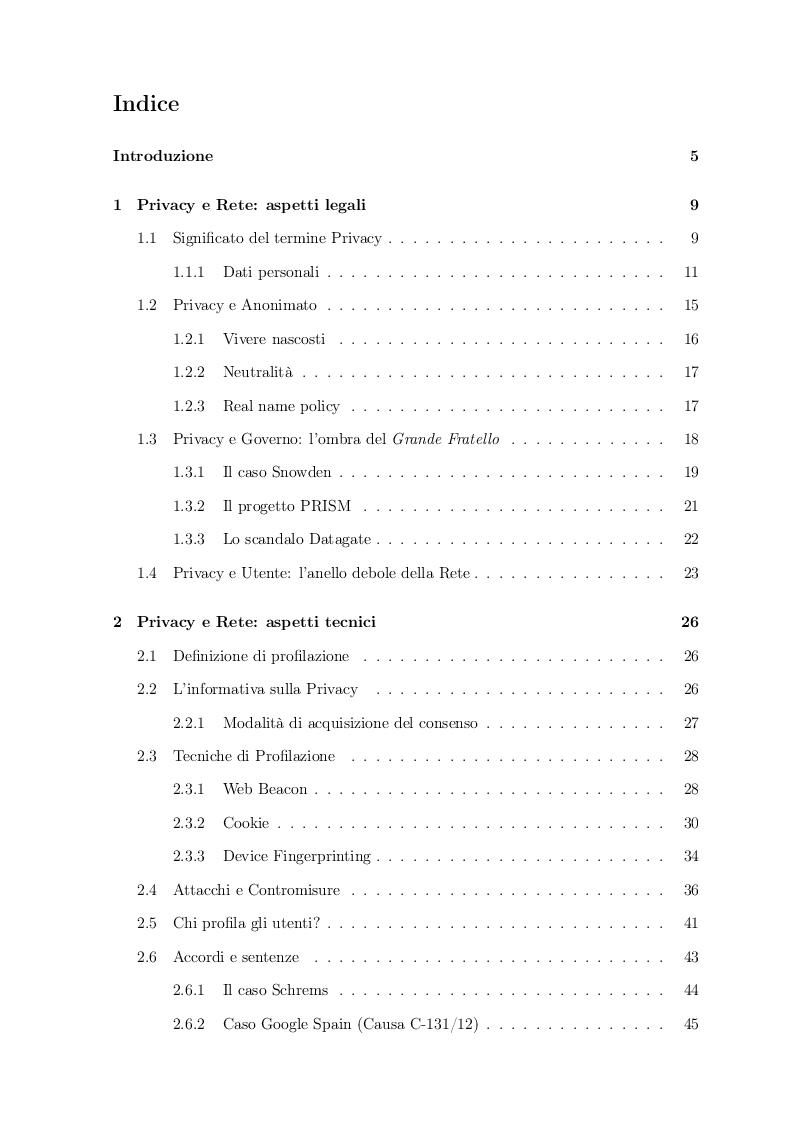 Indice della tesi: Proteggere la Privacy e i dati personali: analisi e studio del concetto di profilazione online, Pagina 1