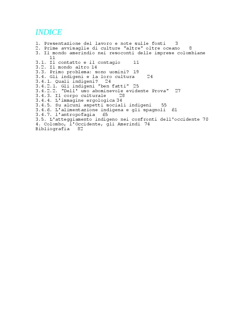 Indice della tesi: Concettualizzazione del mondo amerindio attraverso i resoconti delle imprese colombiane, Pagina 1
