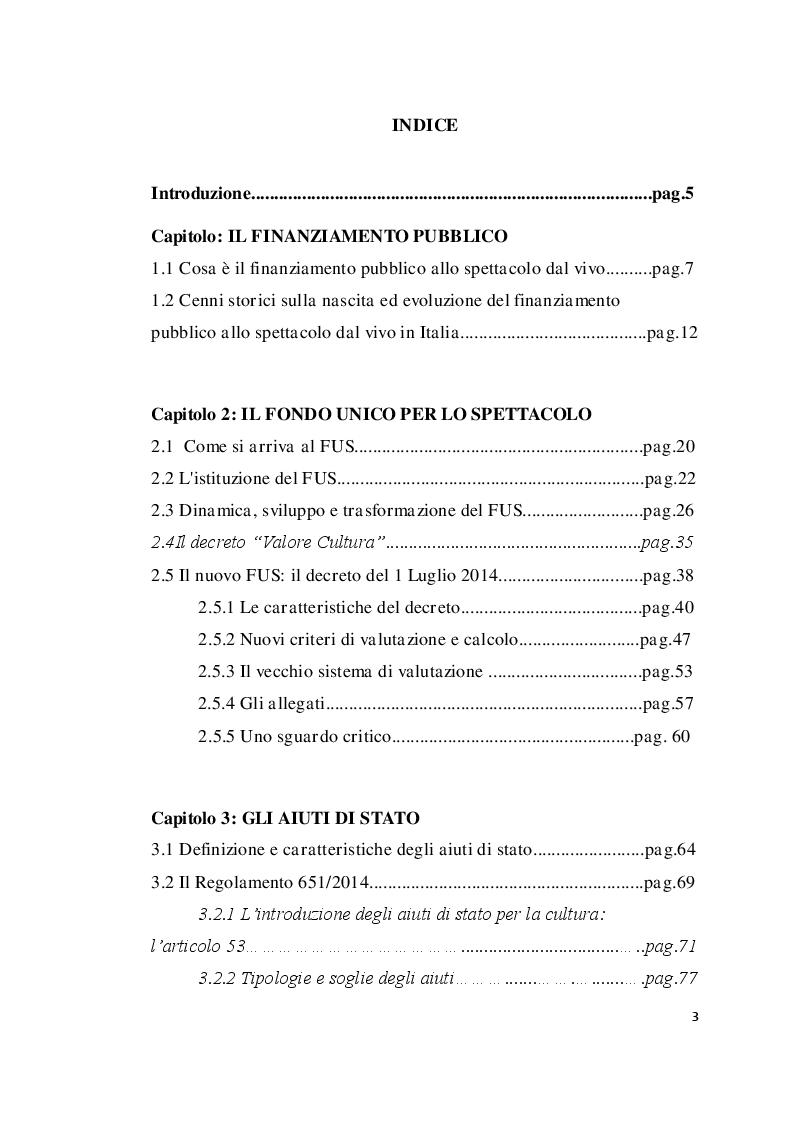 Indice della tesi: Nuove prospettive dei finanziamenti allo spettacolo: Europa, Stato, Regione, Pagina 1