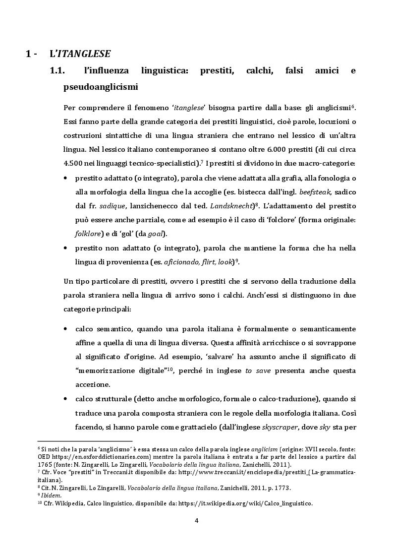 Anteprima della tesi: Il fenomeno ''ITANGLESE'', Pagina 5