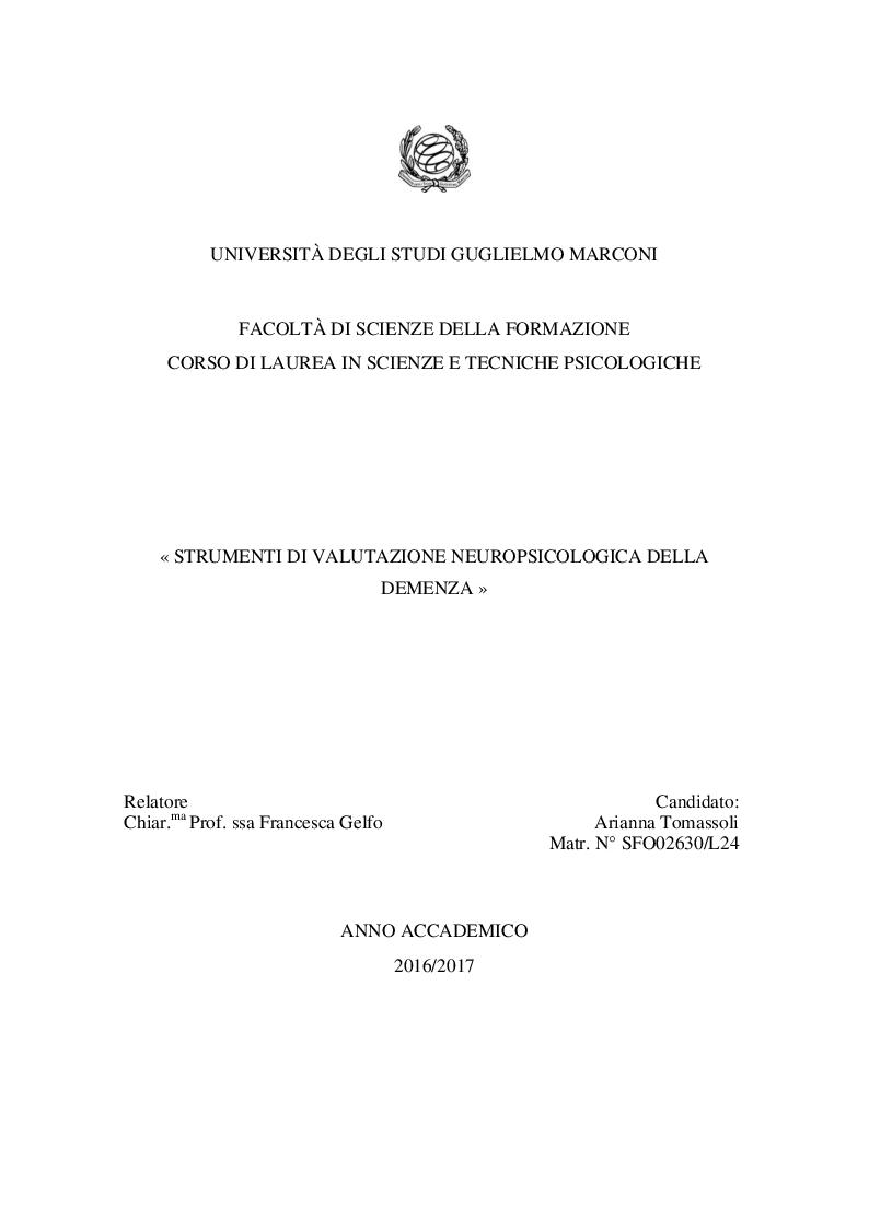 Anteprima della tesi: Strumenti di valutazione neuropsicologica della demenza, Pagina 1