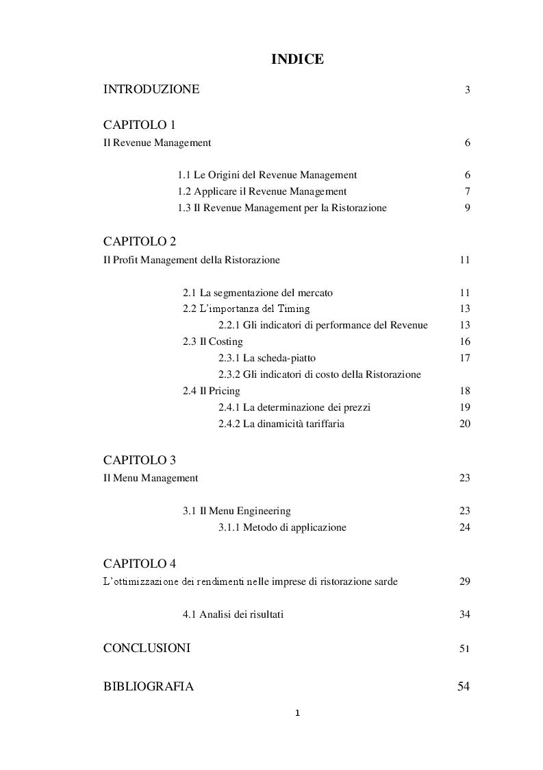 Indice della tesi: L'ottimizzazione dei rendimenti nelle imprese di ristorazione + caso Sardegna , Pagina 1