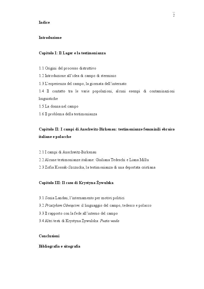 Indice della tesi: Voci femminili dai lager. Alcune testimonianze di deportate ebree italiane e polacche, Pagina 1