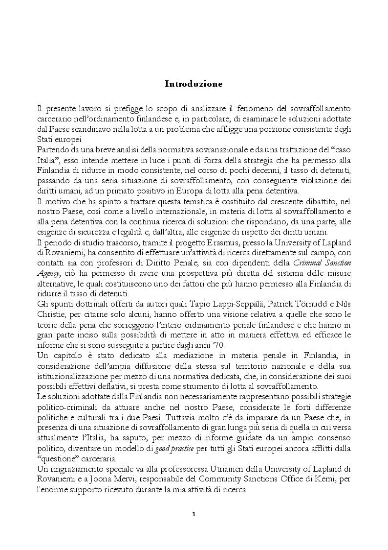 Anteprima della tesi: Il problema del sovraffollamento carcerario. Riflessioni a partire dalle soluzioni adottate nel sistema penale finlandese., Pagina 2