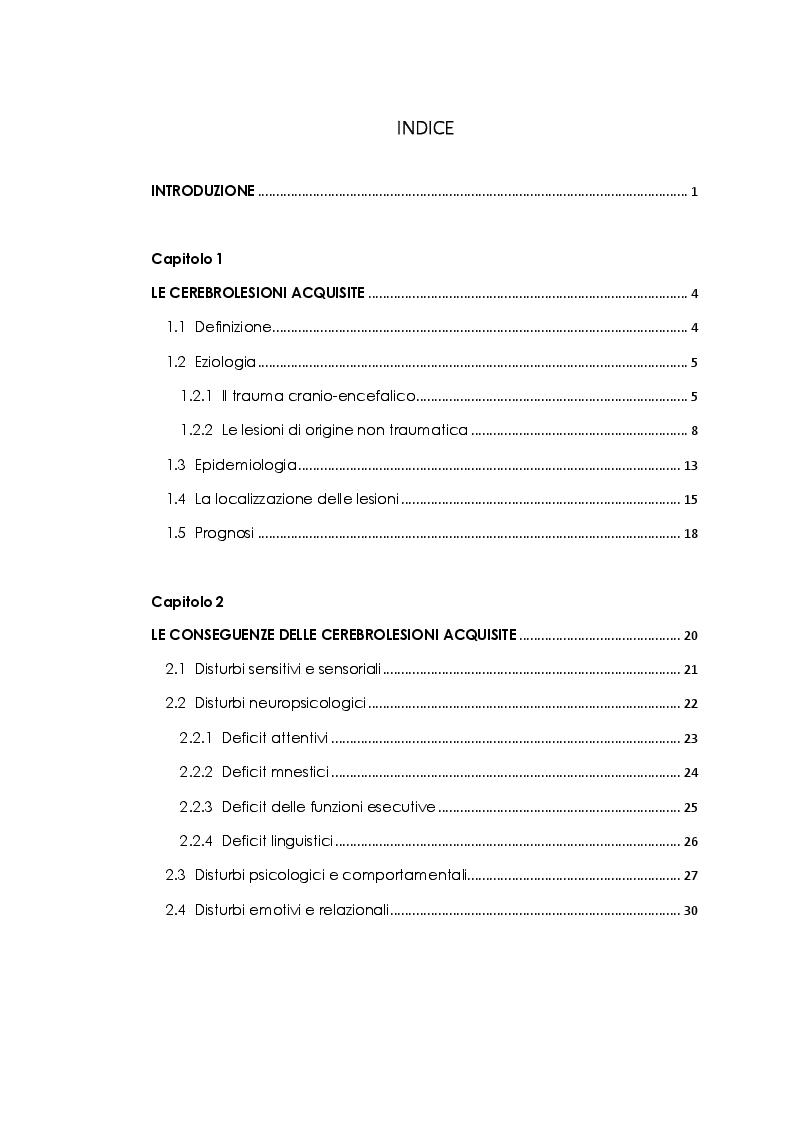 Indice della tesi: Lo sviluppo delle abilità sociali nei pazienti con cerebrolesione acquisita. Studio di un caso, Pagina 1