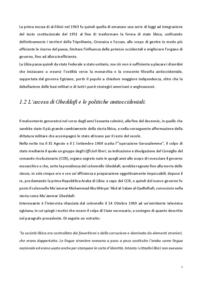 Estratto dalla tesi: Le Relazioni economiche tra Italia e Libia dal secondo dopoguerra al regime di Gheddafi (1947-2012)