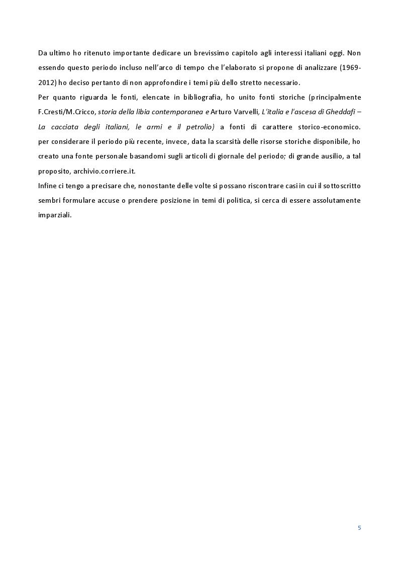 Anteprima della tesi: Le Relazioni economiche tra Italia e Libia dal secondo dopoguerra al regime di Gheddafi (1947-2012), Pagina 3