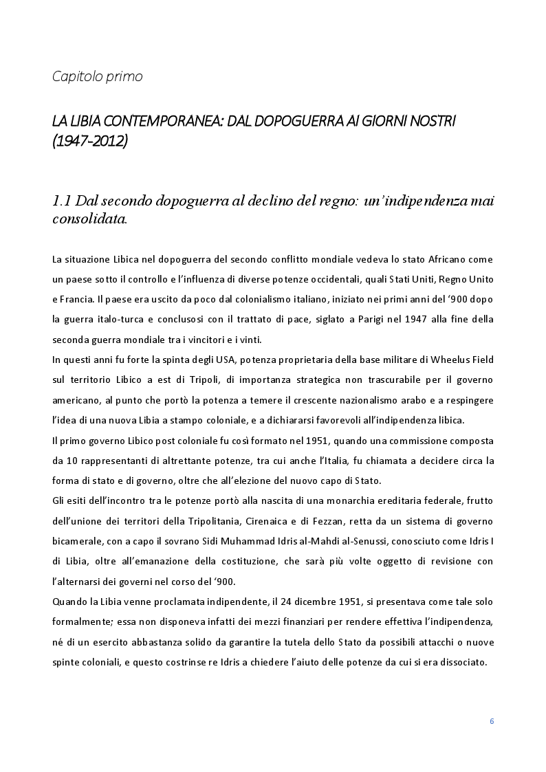 Anteprima della tesi: Le Relazioni economiche tra Italia e Libia dal secondo dopoguerra al regime di Gheddafi (1947-2012), Pagina 4