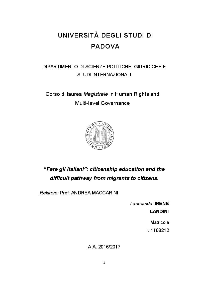 Anteprima della tesi: ''Fare gli italiani'': citizenship education and the difficult pathway from migrants to citizens, Pagina 1