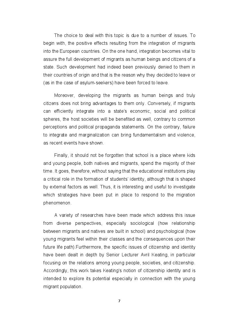 Anteprima della tesi: ''Fare gli italiani'': citizenship education and the difficult pathway from migrants to citizens, Pagina 3
