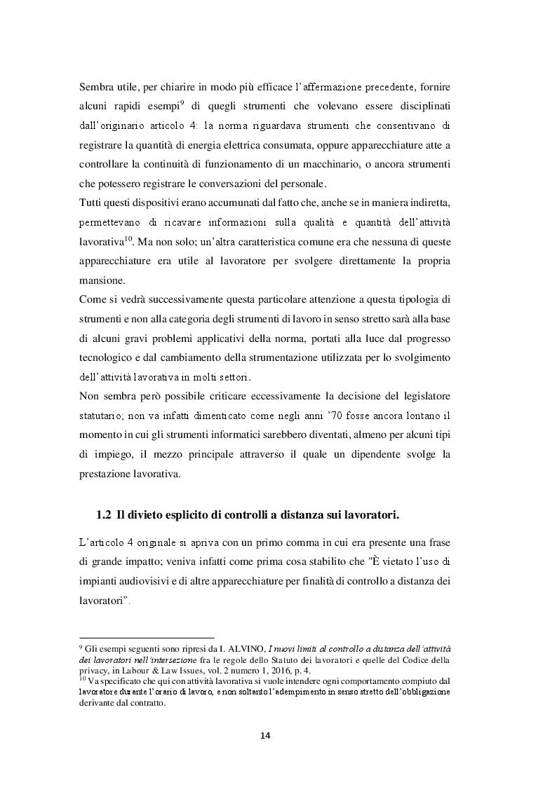 Estratto dalla tesi: Il controllo a distanza sul lavoratore e l'interazione tra disciplina giuslavorista e normativa sulla privacy