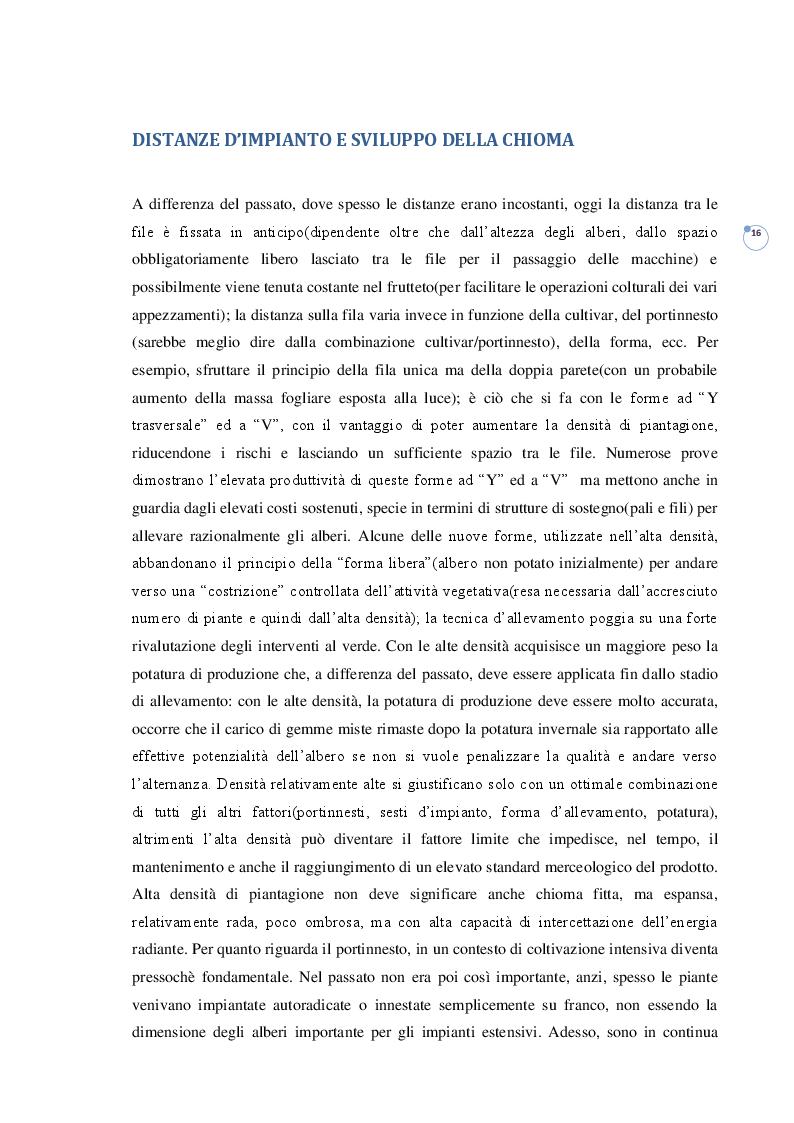 Estratto dalla tesi: IL FRUTTETO. Evoluzione delle densità di impianto e moderni orientamenti