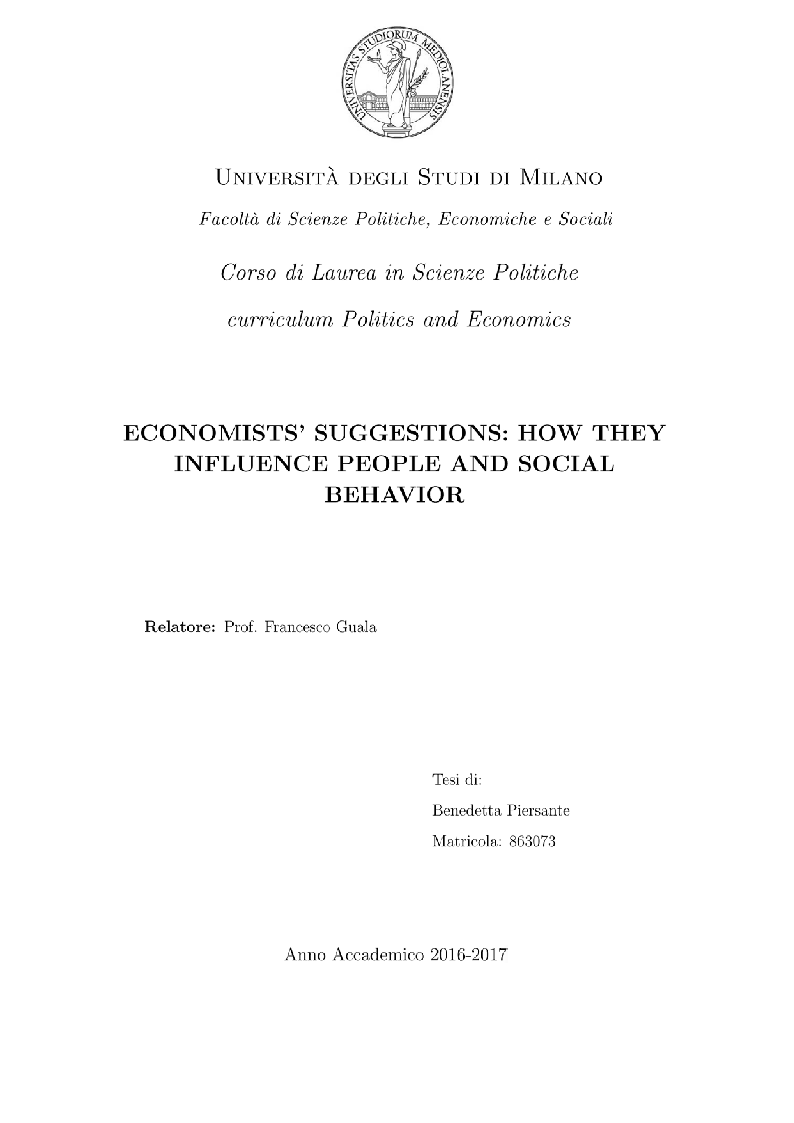 Anteprima della tesi: Economists' suggestions: how they influence people and social behavior, Pagina 1