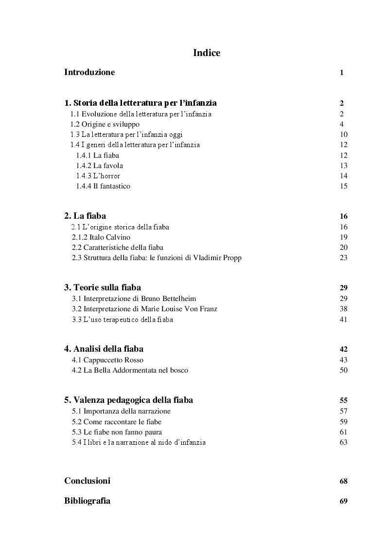 Indice della tesi: Valenza pedagogica della fiaba: importanza e significati, Pagina 1