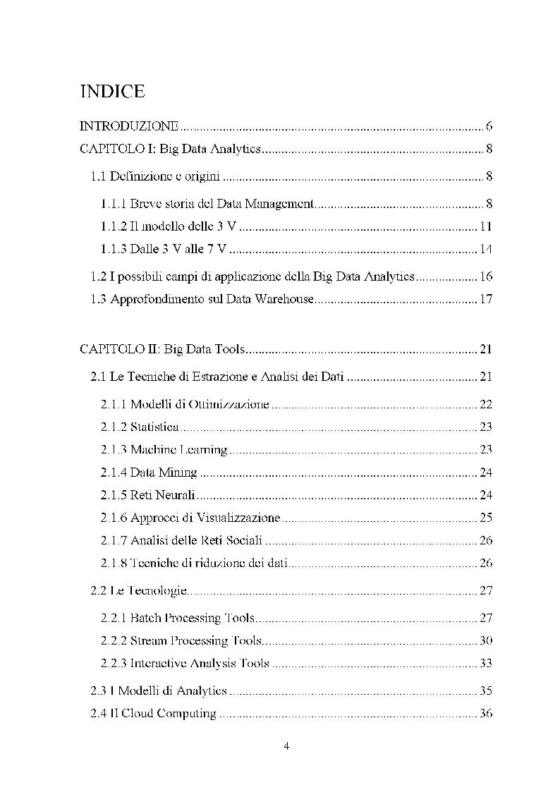 Indice della tesi: Big Data: Quali opportunità per le imprese, Pagina 1