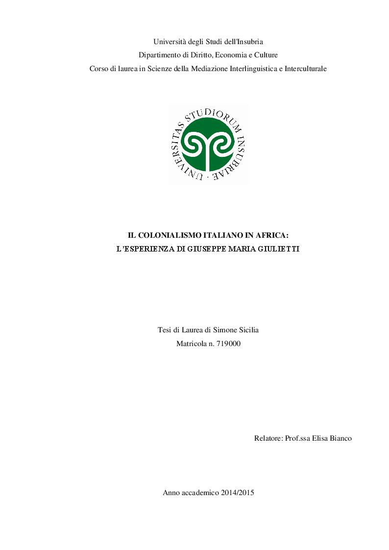 Anteprima della tesi: Il colonialismo italiano in Africa: l'esperienza di Giuseppe Maria Giulietti, Pagina 1