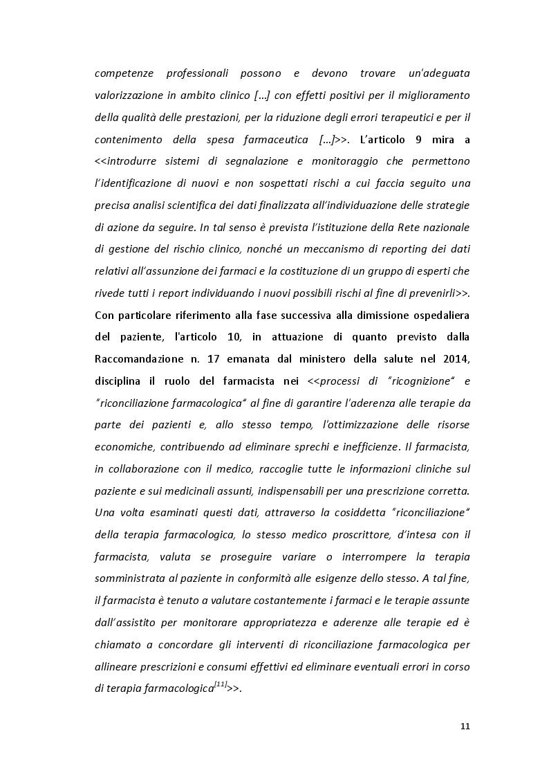 Estratto dalla tesi: Il farmacista clinico territoriale. Opportunità, competenze e prospettive designate dal ddl S.2717. Esperienza in farmacie e studi medici territoriali.