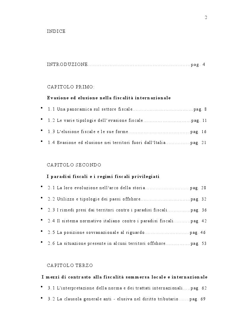 Indice della tesi: I paradisi fiscali: territori e normative, Pagina 1