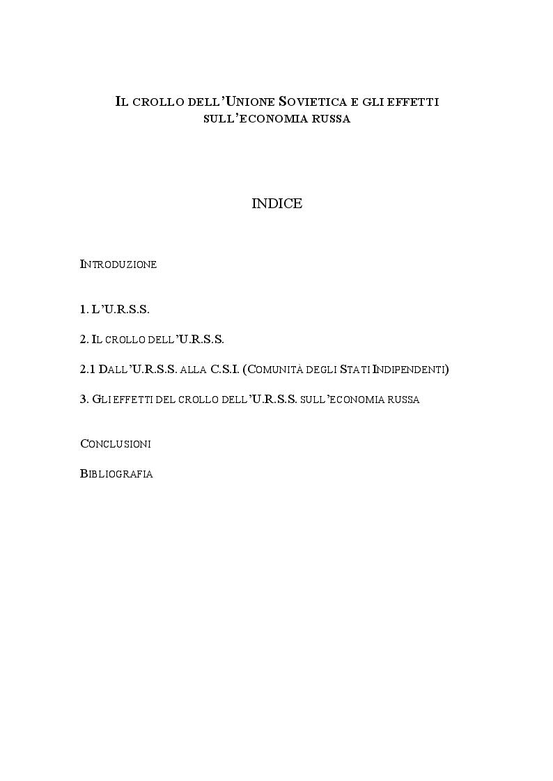 Indice della tesi: Il crollo dell'Unione Sovietica e gli effetti sull'economia russa, Pagina 1