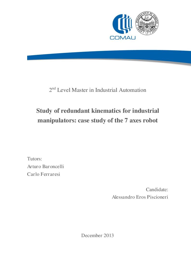 Anteprima della tesi: Study of redundant kinematics for industrial manipulators: case study of the 7 axes robot, Pagina 1