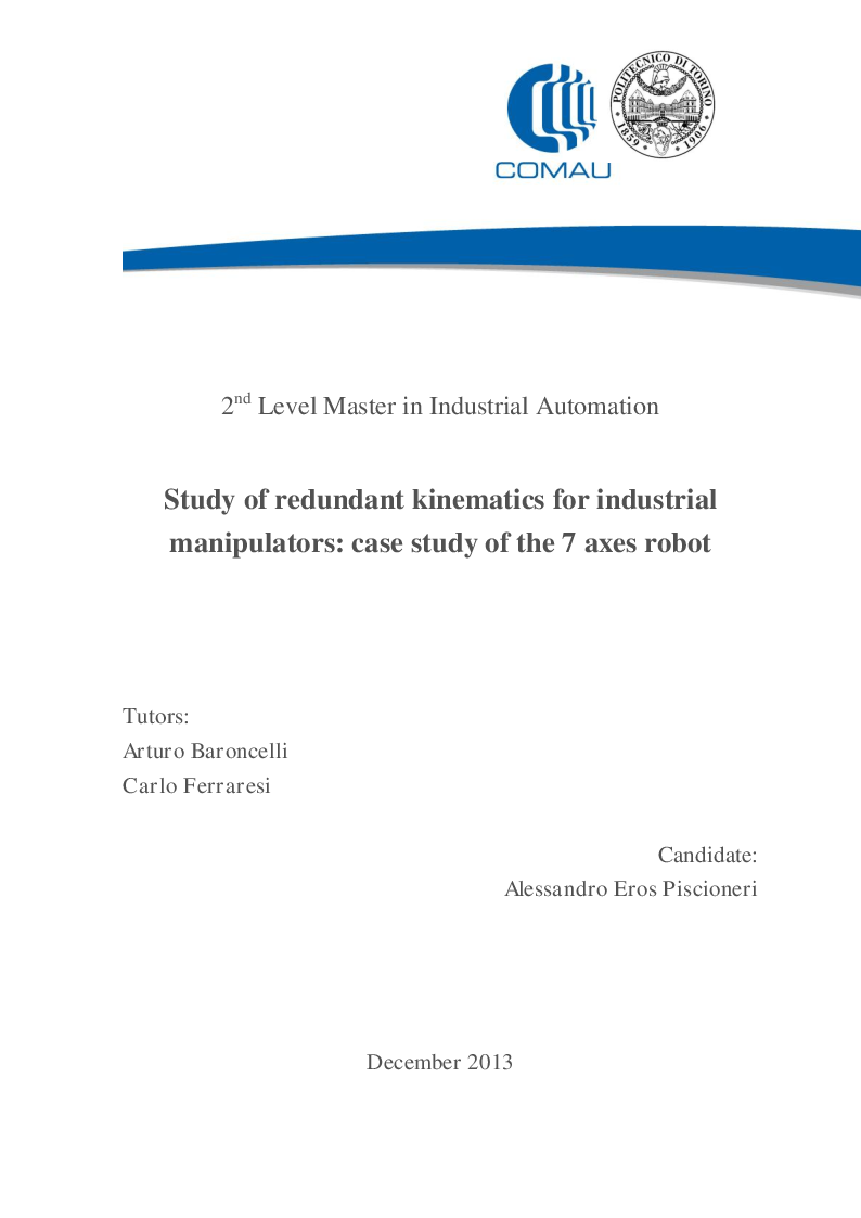 Anteprima della tesi: Study of redundant kinematics for industrial manipulators: case study of the 7 axes robot, Pagina 1