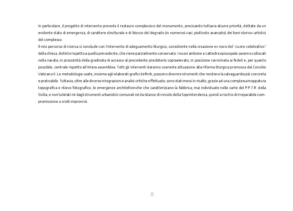Anteprima della tesi: Identità cultuale della chiesa Maria SS. Assunta a Ravanusa. Regesto storico, Progetto di Restauro e Adeguamento Liturgico, Pagina 4