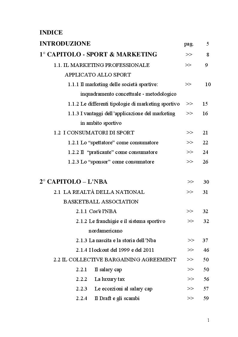 Indice della tesi: Differenze nell'ambito del marketing tra Nba e Lega Basket serie A. il caso Mens Sana Basket Siena., Pagina 1