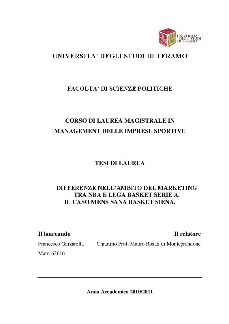 Anteprima della tesi: Differenze nell'ambito del marketing tra Nba e Lega Basket serie A. il caso Mens Sana Basket Siena., Pagina 1