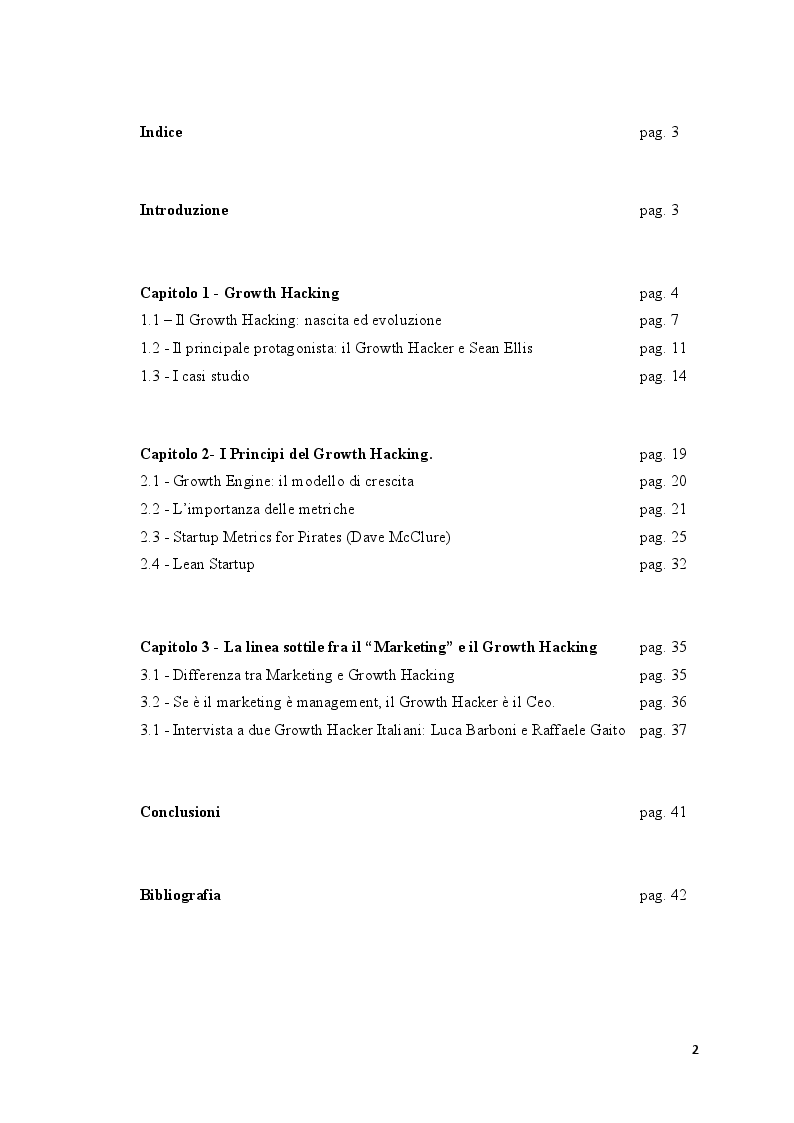 Indice della tesi: Growth Hacking: Il nuovo mindset del Marketing, Pagina 1