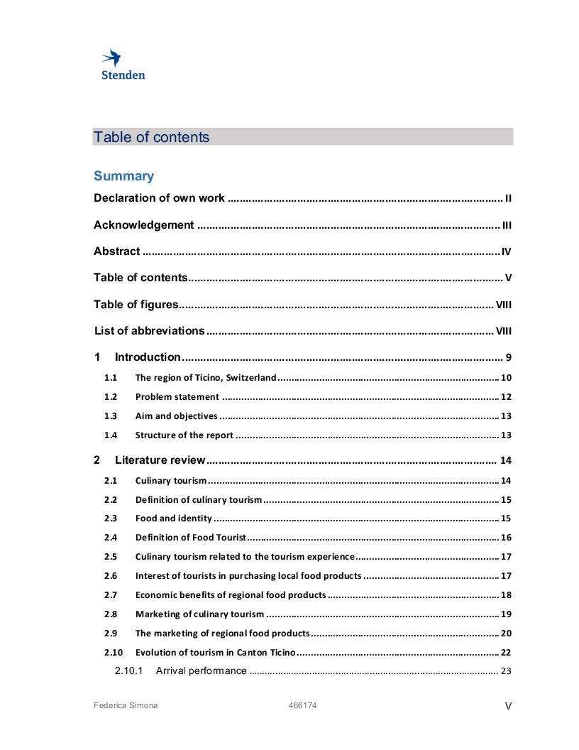 Indice della tesi: Exploring culinary tourism, Pagina 1