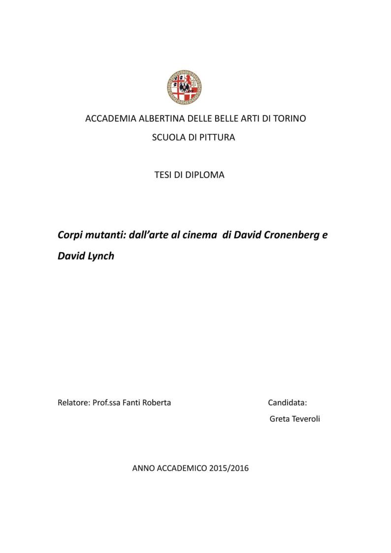 Anteprima della tesi: Post Human; dall'arte al cinema di David Lynch e di David Cronenberg, Pagina 1