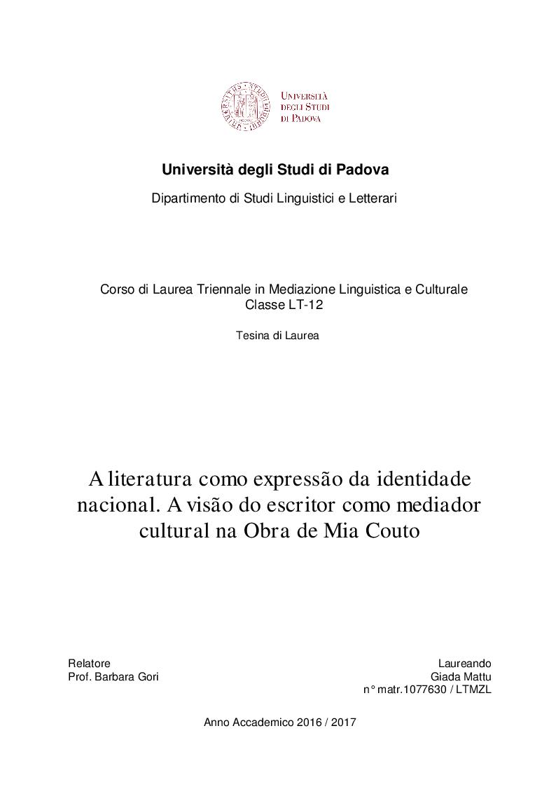 Anteprima della tesi: A literatura como expressão da identidade nacional. A visão do escritor como mediador cultural na Obra de Mia Couto, Pagina 1