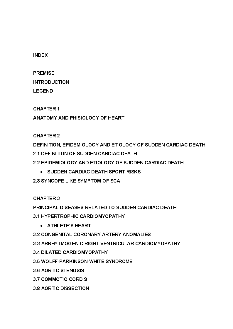 Indice della tesi: Sudden Cardiac Death in Athlete, Pagina 1