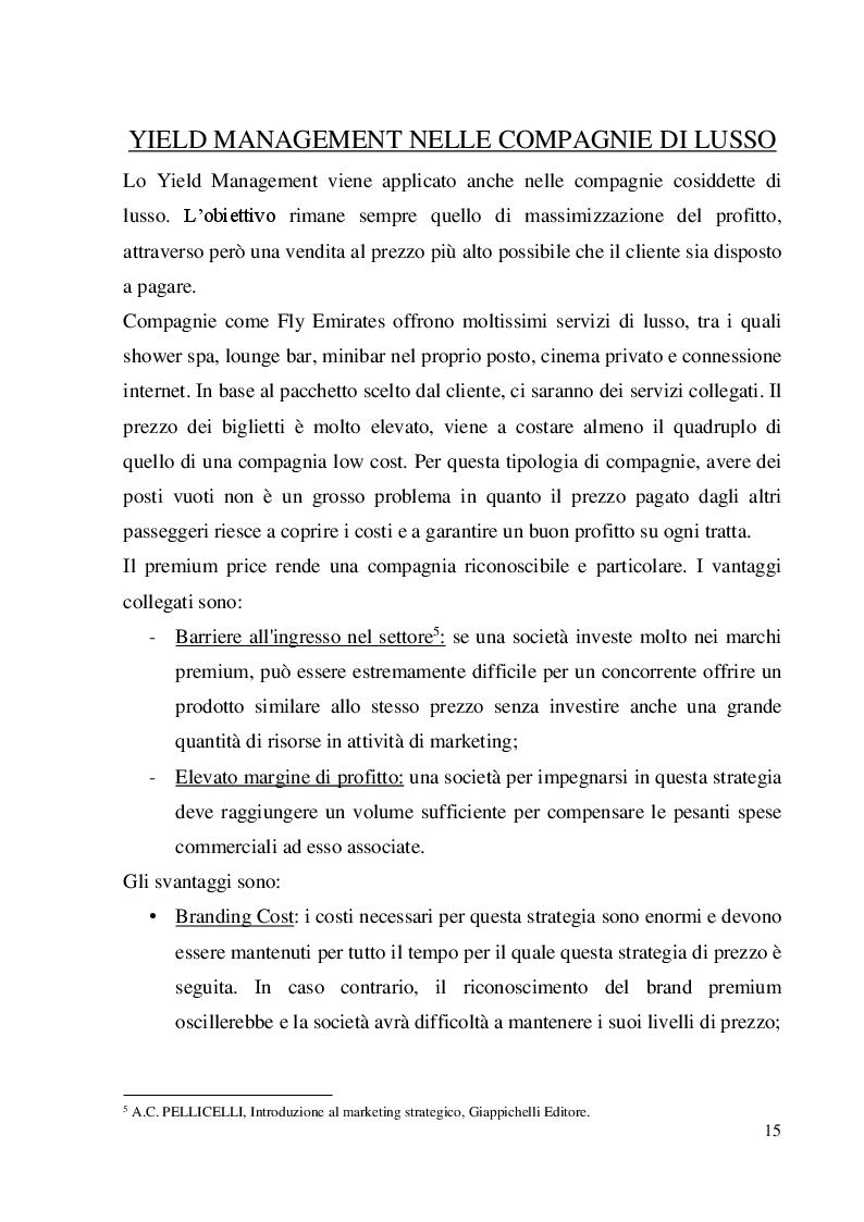 Estratto dalla tesi: Yield Management e politiche di prezzo: il caso delle compagnie aeree low cost e di lusso