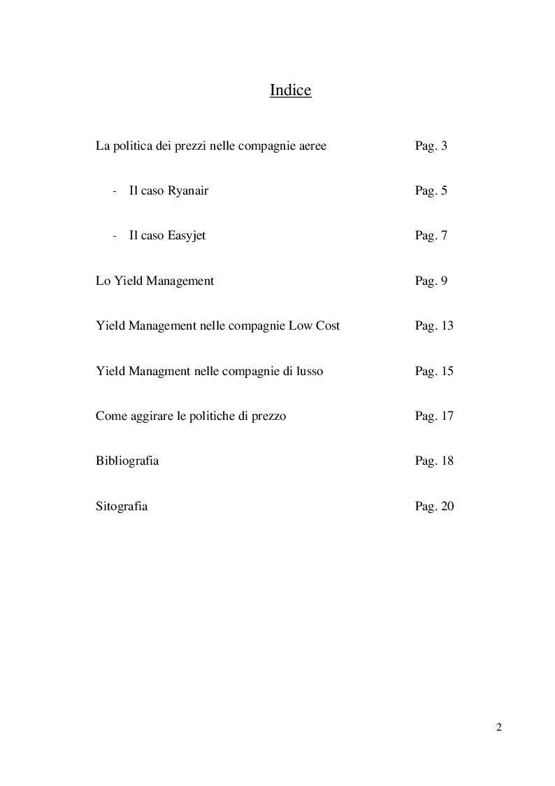 Indice della tesi: Yield Management e politiche di prezzo: il caso delle compagnie aeree low cost e di lusso, Pagina 1