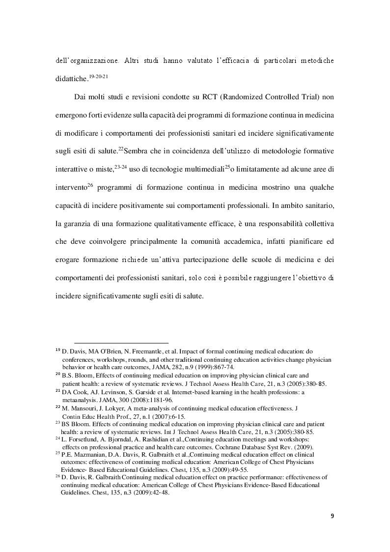 Estratto dalla tesi: Formazione e metodologia di analisi efficace strategia della Clinical Governance