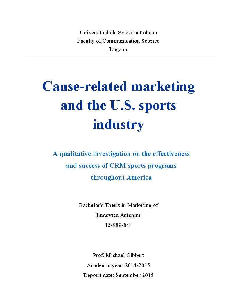 Anteprima della tesi: Cause-Related Marketing and the U.S. Sports Industry, Pagina 1