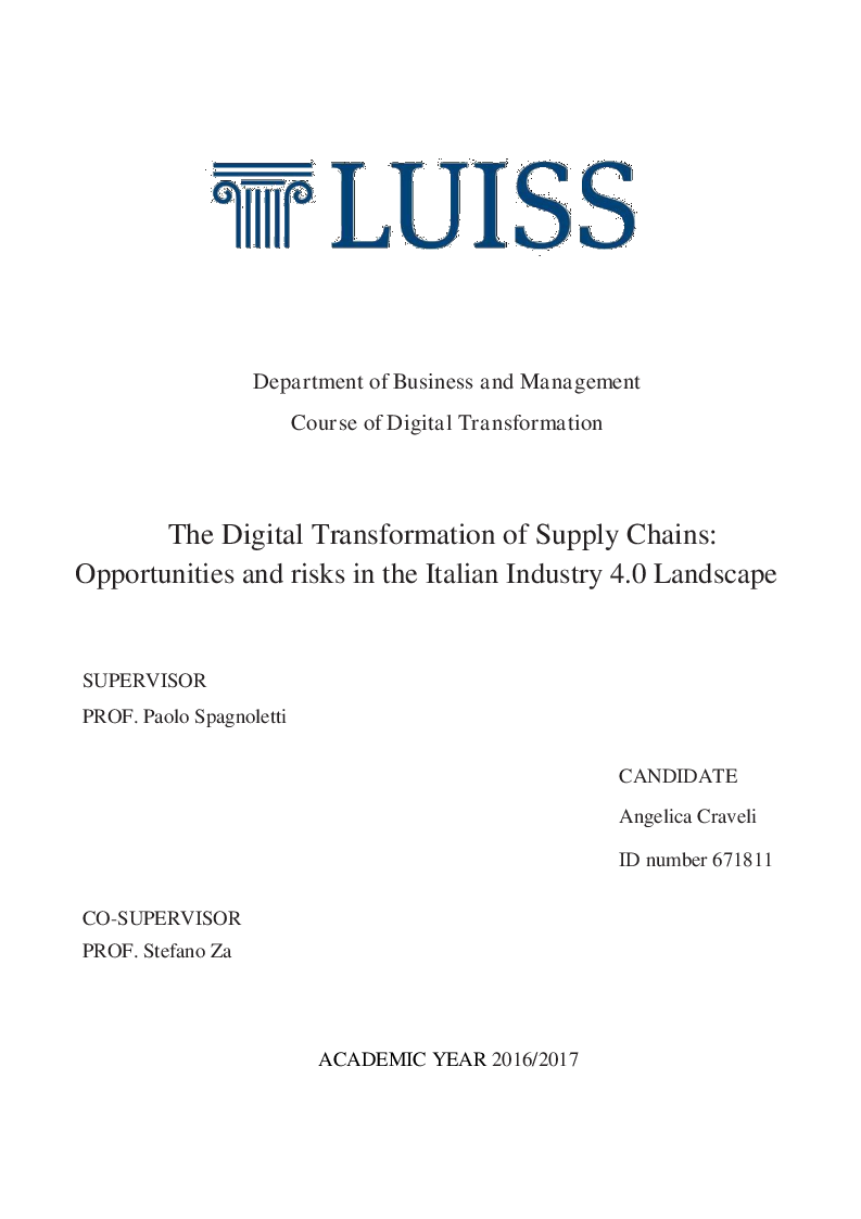 Anteprima della tesi: The Digital Transformation of Supply Chains:  Opportunities and risks in the Italian Industry 4.0 Landscape, Pagina 1
