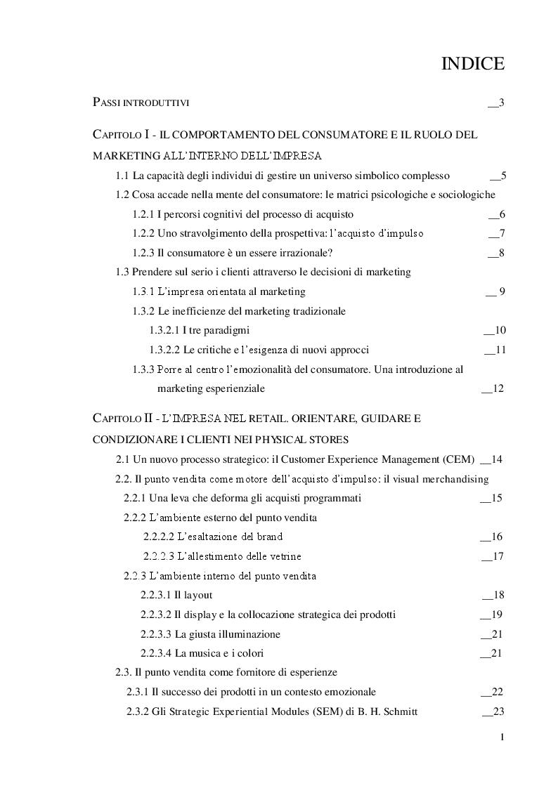 Indice della tesi: L'impulsività del consumatore nell'offline retail: il caso Tiger, Pagina 1