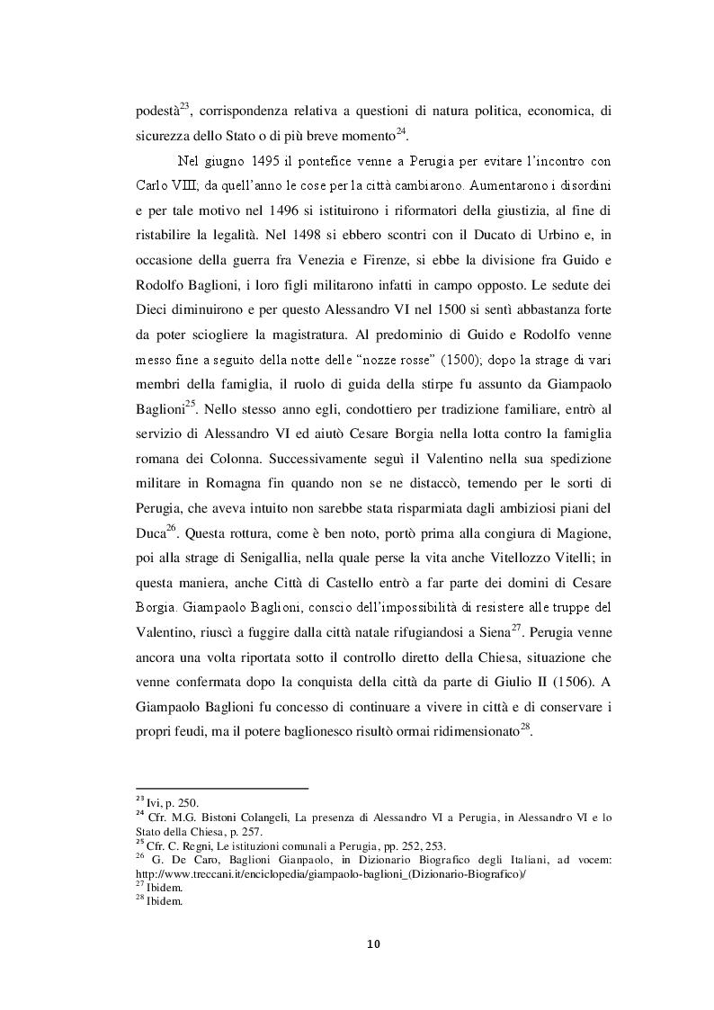 Estratto dalla tesi: Le lettere di Cesare, Lucrezia e Ludovico Borgia ai Priori di Todi (1499-1503)