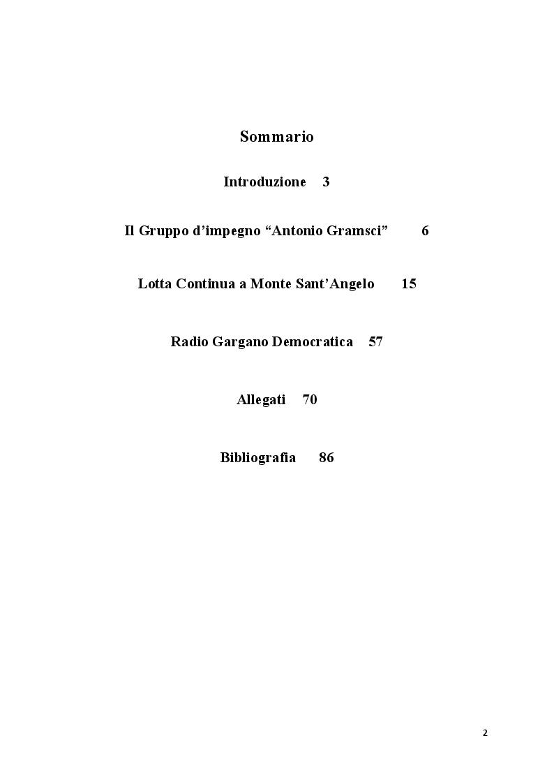 Indice della tesi: Tentativi di controinformazione e di contestazione. L'azione della sinistra extraparlamentare nel Gargano degli anni '70 , Pagina 1